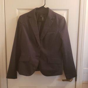 New York & Company Blazer Dark Gray Striped Size 8
